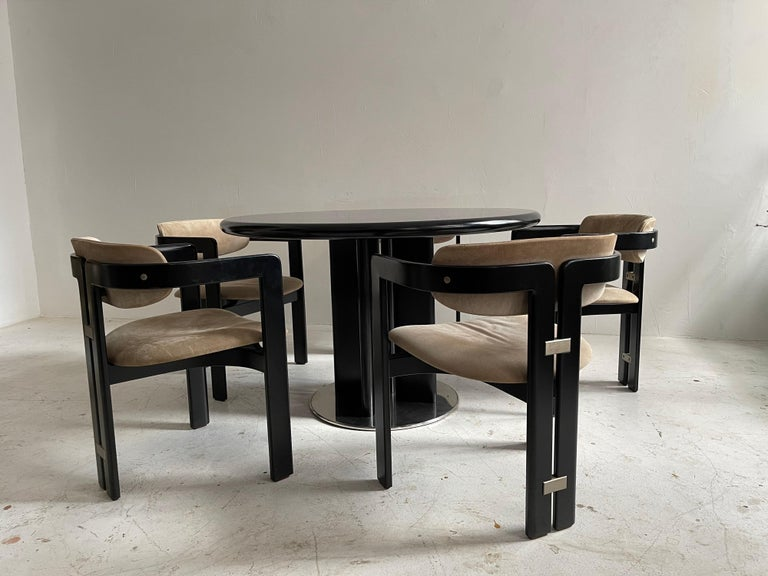Augusto Savini Dining Room Set of Five 'Pamplona' Dining Chairs Dining Table In Good Condition For Sale In Vienna, AT