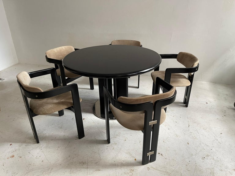 Late 20th Century Augusto Savini Dining Room Set of Five 'Pamplona' Dining Chairs Dining Table For Sale