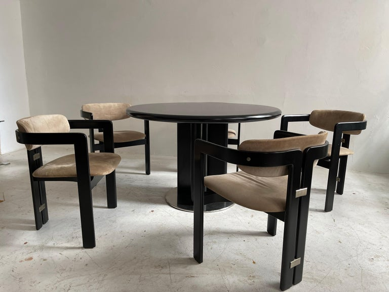 Metal Augusto Savini Dining Room Set of Five 'Pamplona' Dining Chairs Dining Table For Sale