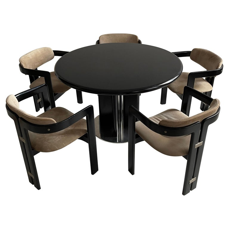Augusto Savini Dining Room Set of Five 'Pamplona' Dining Chairs Dining Table For Sale
