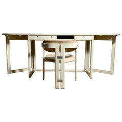 Augusto Savini for Pozzi Drop Leaf Gate Leg Desk with Matching Pamplona Chair