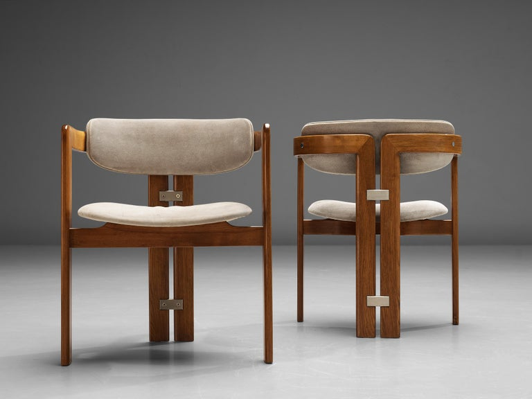 Suede Augusto Savini for Pozzi Set of Six 'Pamplona' Dining Chairs For Sale