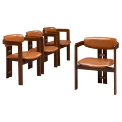 Augusto Savini Four 'Pamplona' Chairs with Cognac Leather
