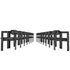 Augusto Savini Large Set of Sixteen 'Pamplona' Chairs in Black