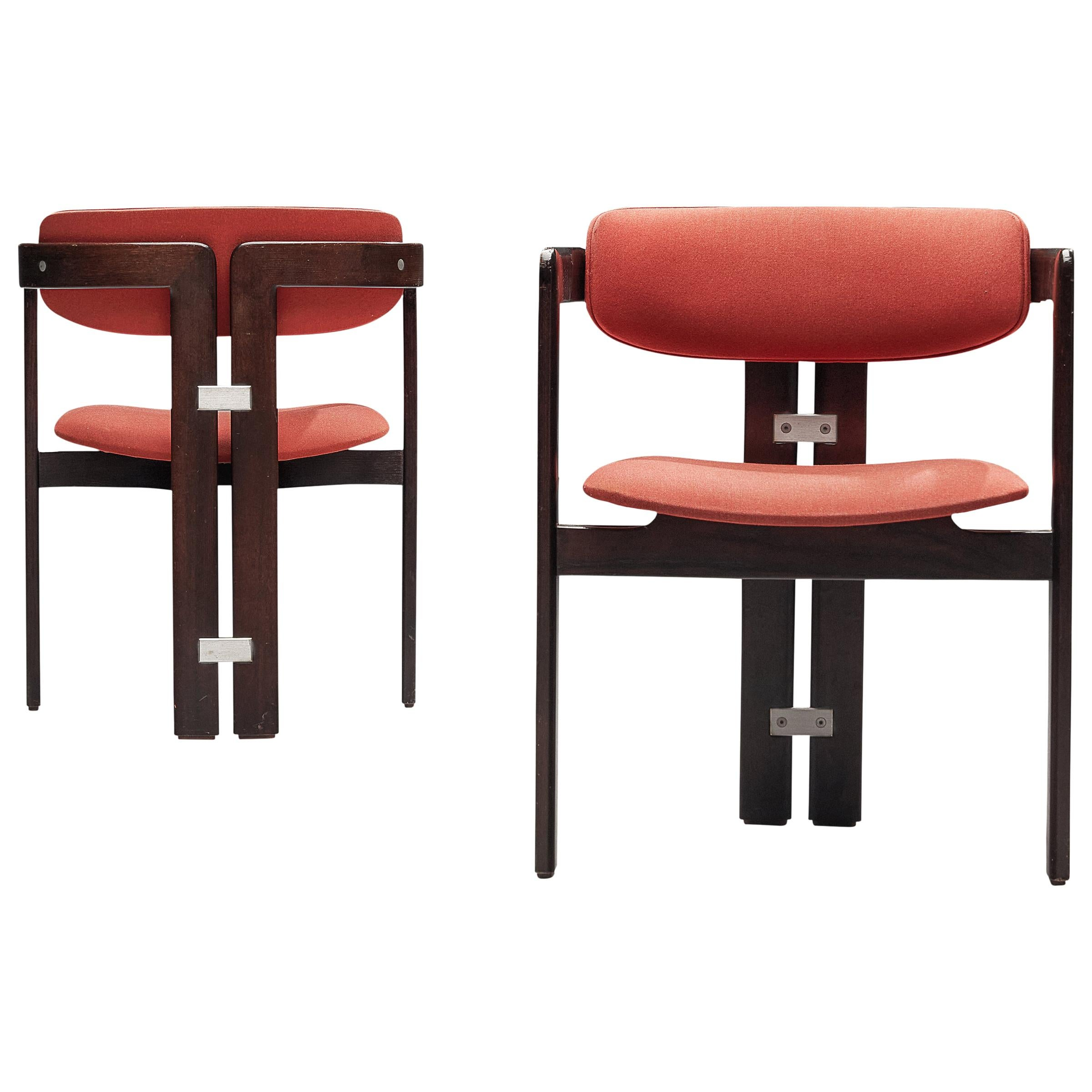 Augusto Savini Pair of 'Pamplona' Dining Chairs in Red Upholstery