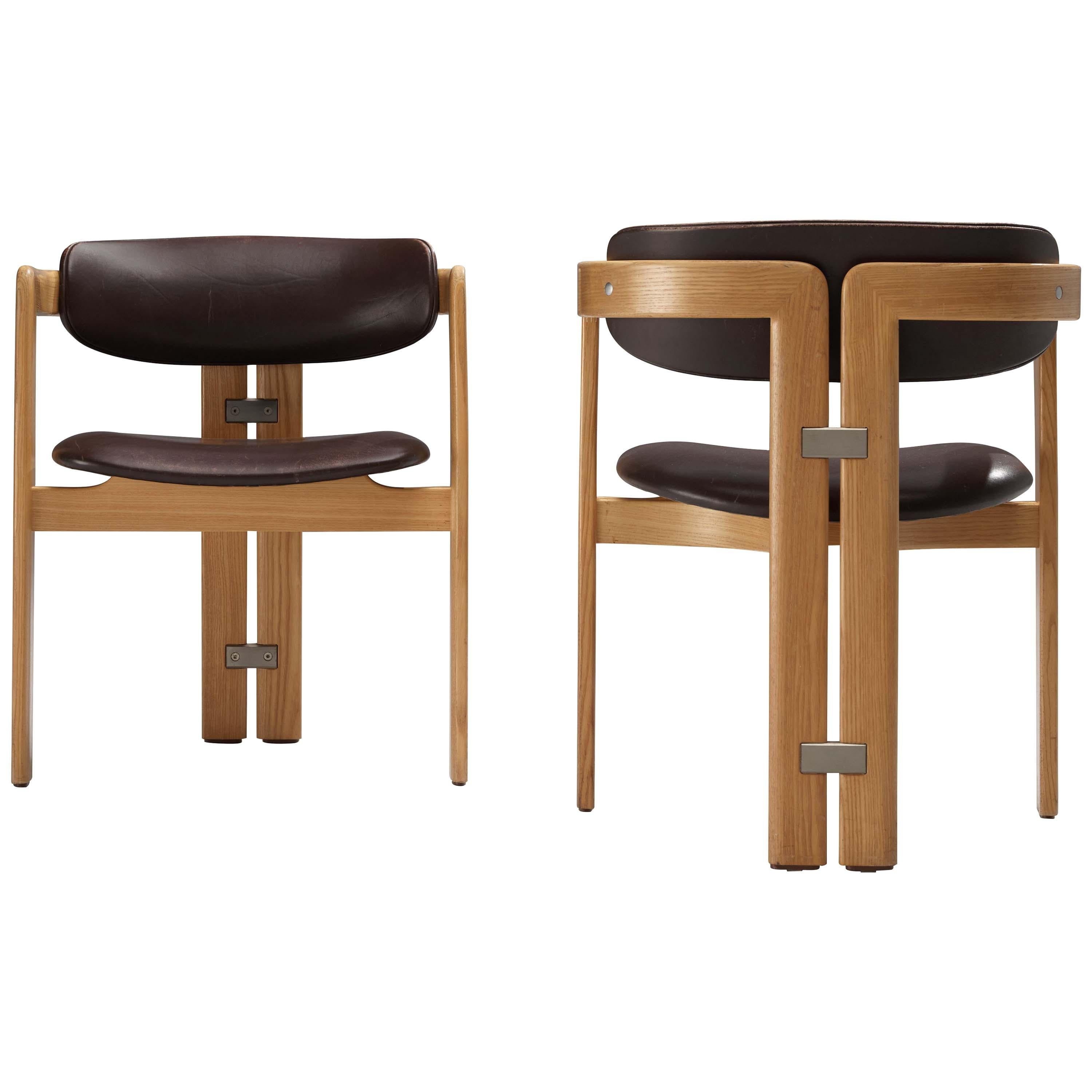 Augusto Savini 'Pamplona' Dining Chairs in Brown Leather