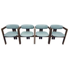 Augusto Savini Pamplona Leather Dining Chairs for Pozzi, Set of Four