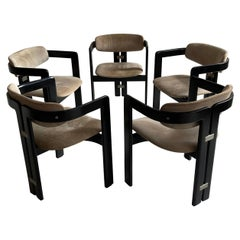 Augusto Savini Set of 5 Suede Pamplona Dining Chairs by Pozzi, Italy 1970