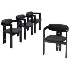 Augusto Savini Set of Four Black 'Pamplona' Dining Chairs