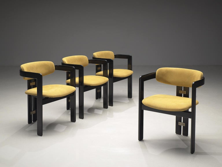 Mid-Century Modern Augusto Savini Set of Four 'Pamplona' Chairs in Beige Suede For Sale