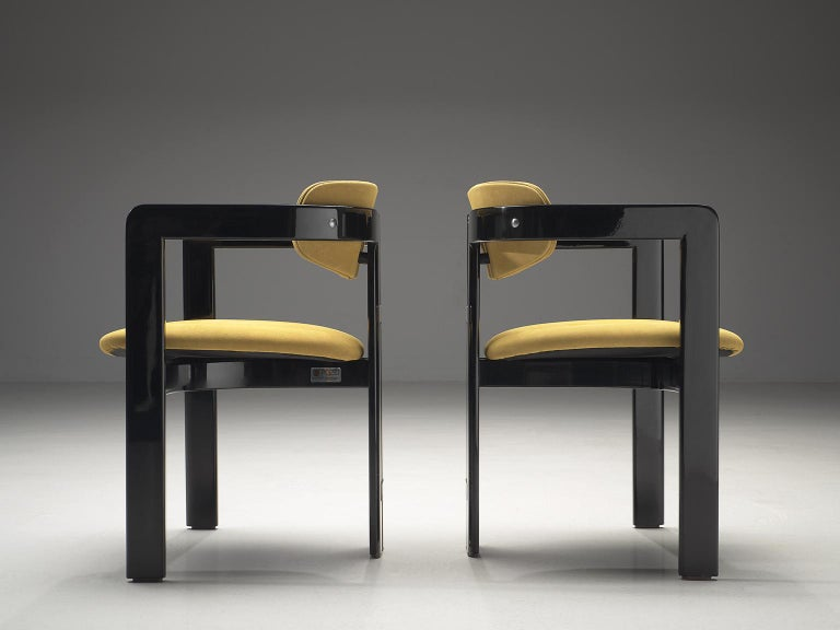 Italian Augusto Savini Set of Four 'Pamplona' Chairs in Beige Suede For Sale