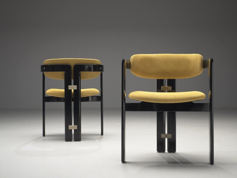 Augusto Savini Set of Four 'Pamplona' Chairs in Beige Suede In Good Condition For Sale In Waalwijk, NL