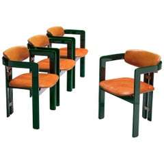 """Augusto Savini Set of Four """"Pamplona"""" Chairs in Cognac Leather"""