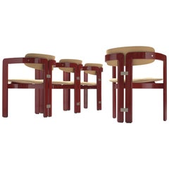 Augusto Savini Set of Four 'Pamplona' Chairs with Burgundy Glossed Frame