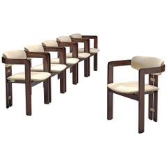 Augusto Savini Set of Six 'Pamplona' Chairs in Off-White Leather