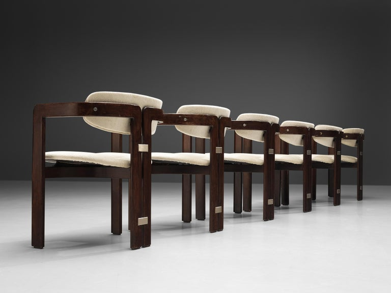 Augusto Savini for Pozzi, set of six 'Pamplona' dining chairs, lacquered wood, off-white fabric upholstery, aluminum, Italy, 1965  Set of six armchairs in lacquered wood and off-white fabric upholstery. A characteristic design; simplistic yet very