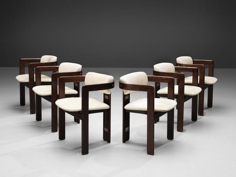 Fabric Augusto Savini Set of Six 'Pamplona' Dining Chairs For Sale