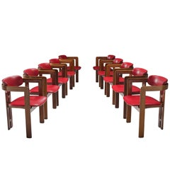 "Augusto Savini Set of Ten Red Leatherette 'Pamplona"" Dining Room Chairs"