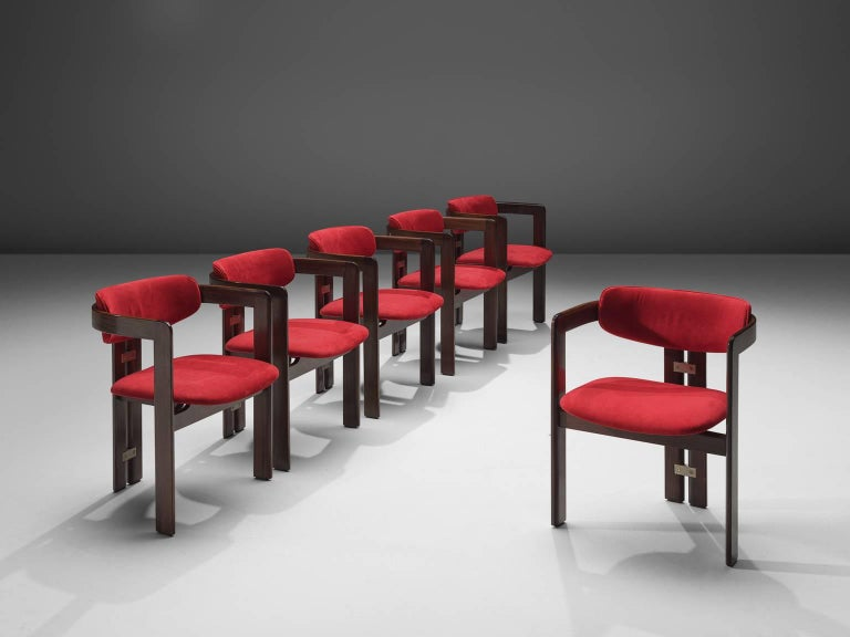 Mid-Century Modern Augusto Savini Suede and Rosewood 'Pamplona' Chairs For Sale