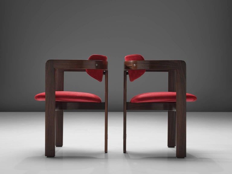 Italian Augusto Savini Suede and Rosewood 'Pamplona' Chairs For Sale