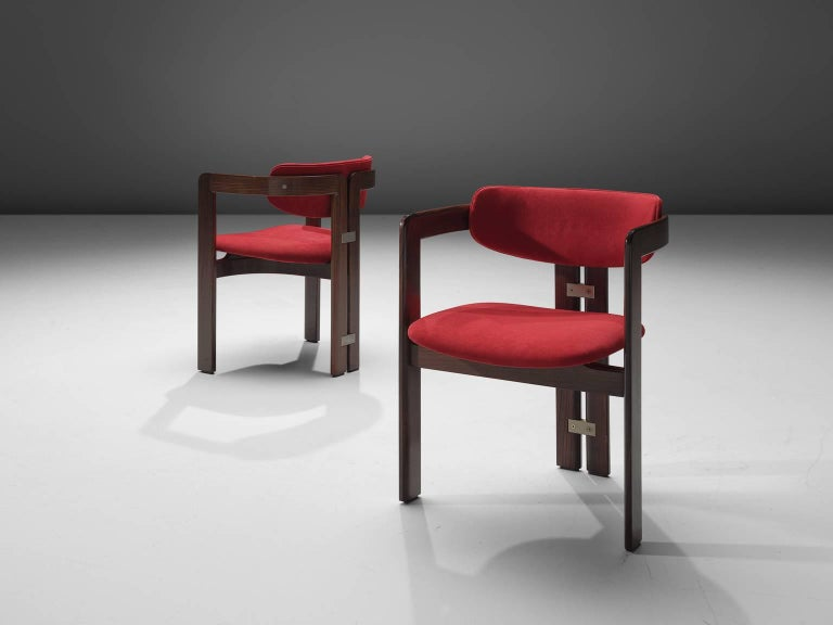 Augusto Savini Suede and Rosewood 'Pamplona' Chairs In Good Condition For Sale In Waalwijk, NL