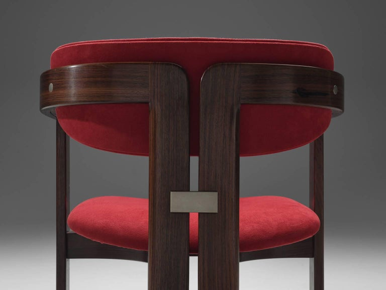 Mid-20th Century Augusto Savini Suede and Rosewood 'Pamplona' Chairs For Sale