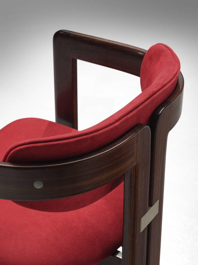 Augusto Savini Suede and Rosewood 'Pamplona' Chairs For Sale 1