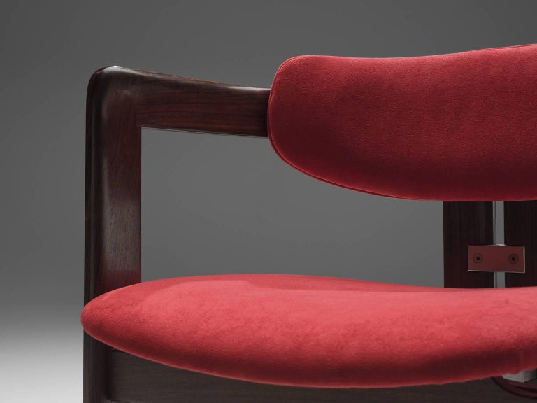 Augusto Savini Suede and Rosewood 'Pamplona' Chairs For Sale 2