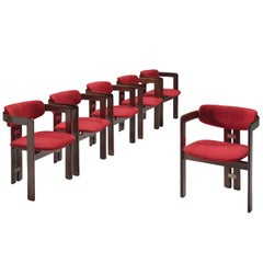 Augusto Savini Suede and Rosewood 'Pamplona' Chairs