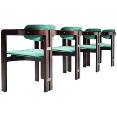 Augusto Savini Turquoise Fabric 'Pamplona' Chairs