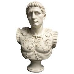 Augustus Caesar as Centurion Large Marble Bust, 20th Century