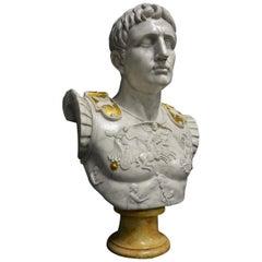 Augustus Caesar as Centurion Large Marble Bust Sculpture, 20th Century