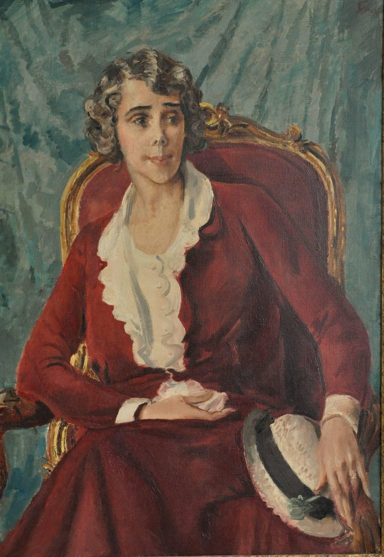 Ethel Quinn Curtis -  Art Deco 30s seated female portrait oil painting red dress - Painting by Augustus John