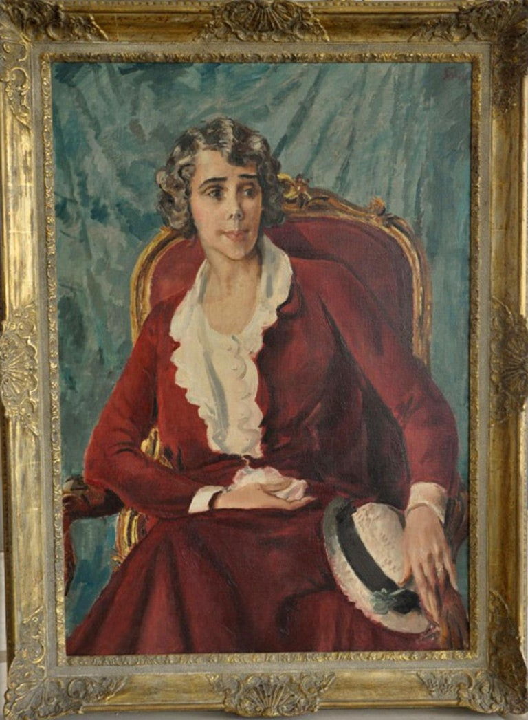 Augustus John Portrait Painting - Ethel Quinn Curtis -  Art Deco 30s seated female portrait oil painting red dress
