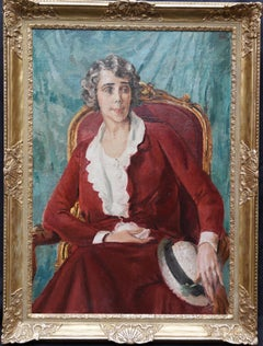 Ethel Quinn Curtiss - Art Deco 30s seated American female portrait oil painting