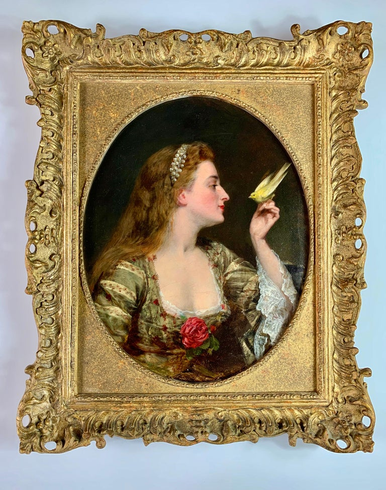 'The Bird Charmer' a 19th Century English Portrait of a Lady in a Silk Dress - Painting by Circle of Augustus Leopold Egg