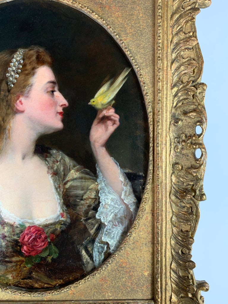 'The Bird Charmer' a 19th Century English Portrait of a Lady in a Silk Dress For Sale 3