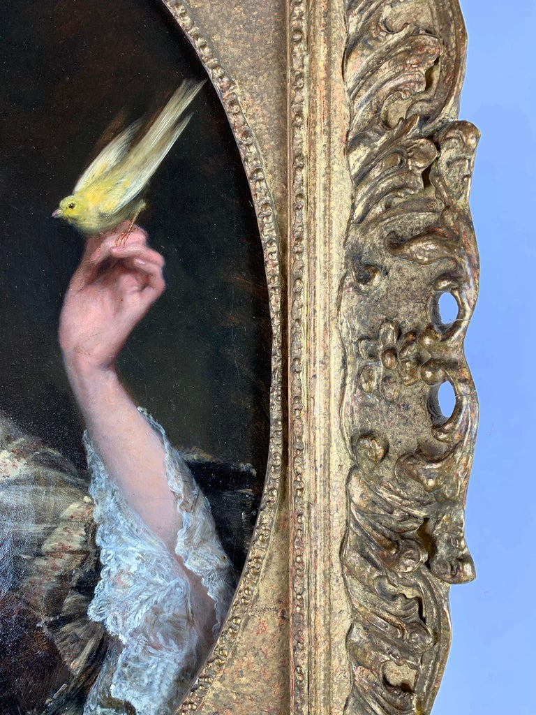 'The Bird Charmer' a 19th Century English Portrait of a Lady in a Silk Dress For Sale 4