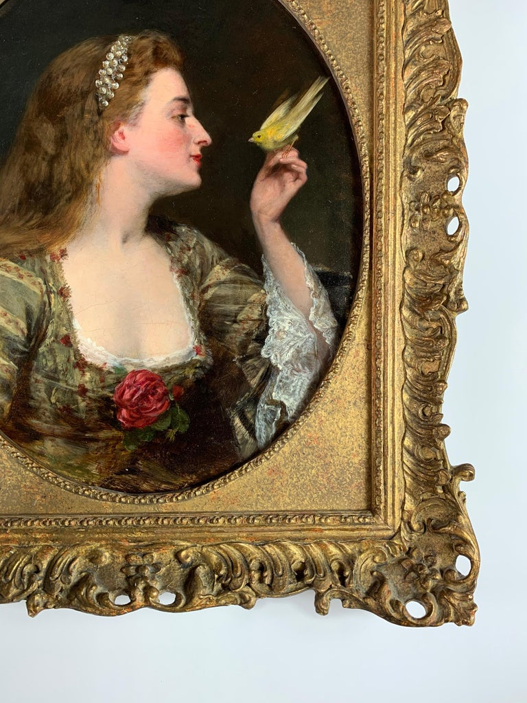 'The Bird Charmer' a 19th Century English Portrait of a Lady in a Silk Dress For Sale 1