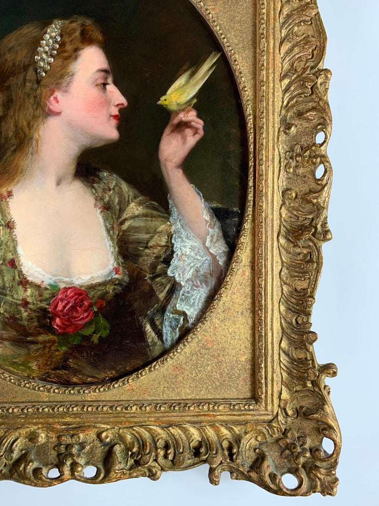 'The Bird Charmer' a 19th Century English Portrait of a Lady in a Silk Dress For Sale 2