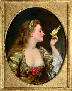 'The Bird Charmer' a 19th Century English Portrait of a Lady in a Silk Dress
