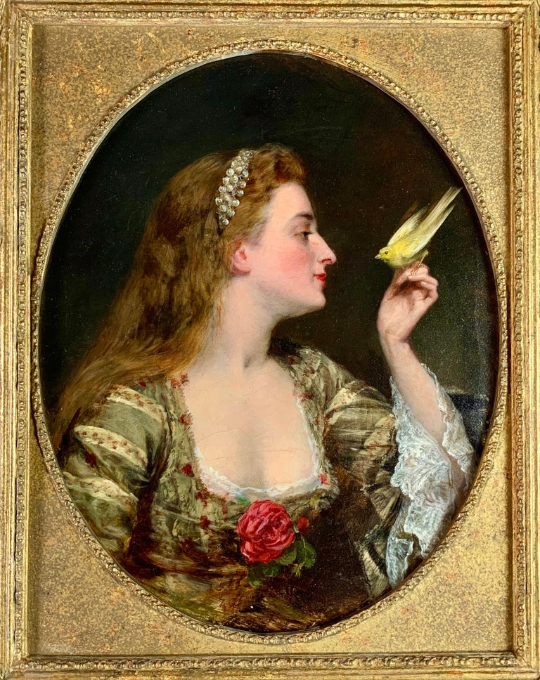A fine and jewel like 19th century portrait of a lady painted in the oval. The as yet unknown sitter wears an elaborate costume of floral striped silk with full lace sleeves. Her auburn hair tumbles naturalistically around her shoulder, and is held