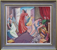 Christ Expelling Money Changers- British 30's surrealist art religious interior