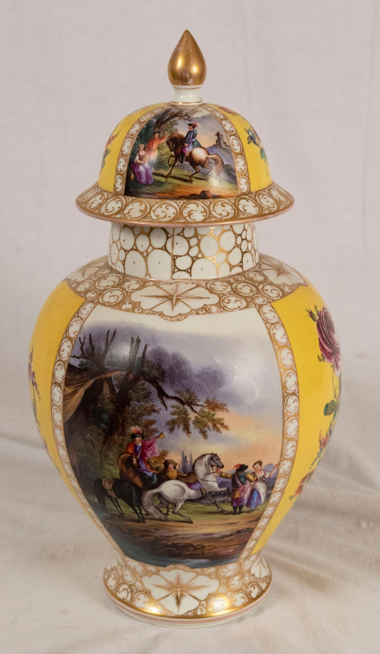 Augustus Rex Meissen porcelain baluster vase with cover and very fine painting of courtly life and floral still life (circa 1870).  Condition: previously cracked and restored.