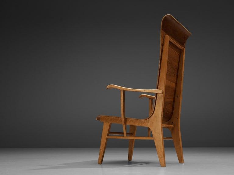 Walnut Auke Komter Very Rare Armchair for Metz & Co For Sale