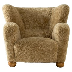 """Aulanko"" Sheepskin Armchair/Lounge Chair by Märta Blomstedt, Finland, 1939"