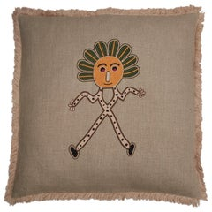 Aunti Hand Embroidered Beige Linen Pillow Cover