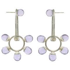Aur Jewelry Pendulum Shift Earrings III in Sterling Silver and Glass