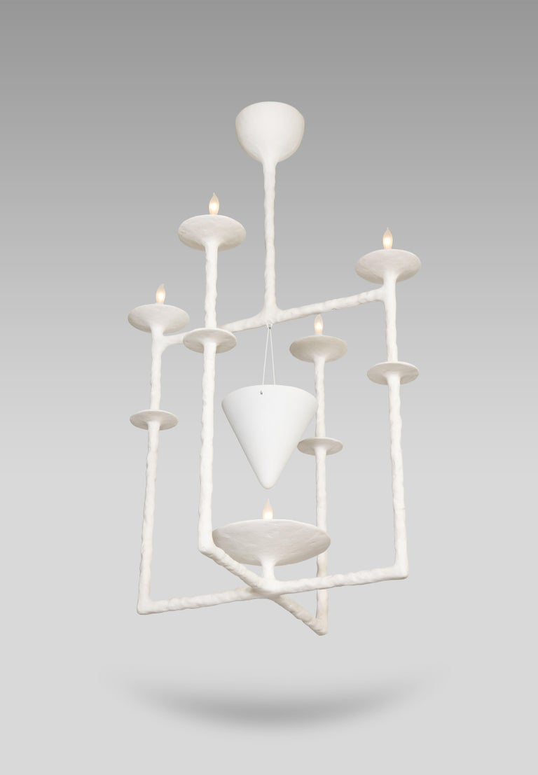 Delicate, handmade plaster form of intersecting square structures with four light sources, plus one bottom light source illuminating a suspended cone. A very unusual, sculptural design. *This fixture comes outfitted with either 2-pin G4 or G9