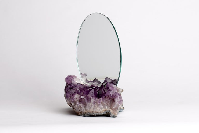 The Aura mirrors are crafted using semi-precious stones, pierced by monolithic mirrors projecting an air of being both ethereal and brooding. The crystals and stones are believed to have different metaphysical properties, while the mirrors